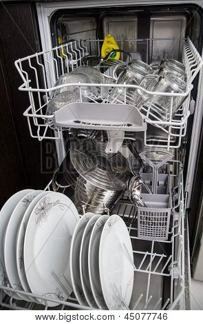 Dishwasher With White Plates And Glasses