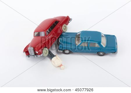 A Red And A Blue Car Have Crashed
