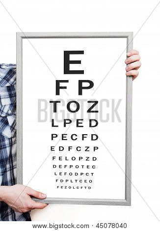Man Showing Snellen Eye Exam Chart On White Background