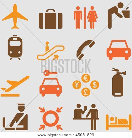 Airport icons set.Vector