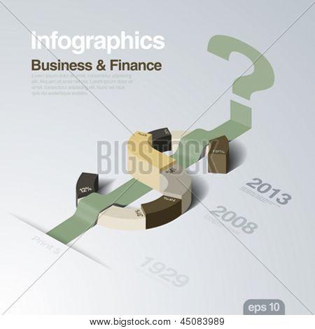 Plantilla de diseño de infografía. Tema de negocios y las finanzas. Dólar como una parcela de concepto. Idea creativa