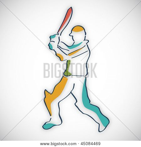 Cricket batsman in playing action on grey background.