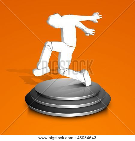 Musical dance party background. flyer or banner with dancing boy on stage,