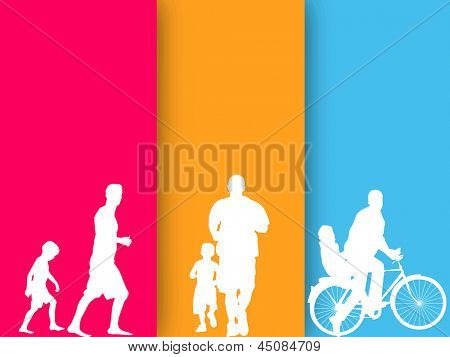 Happy Fathers Day concept with father and son doing activities on colorful line background. Paper cut out design.