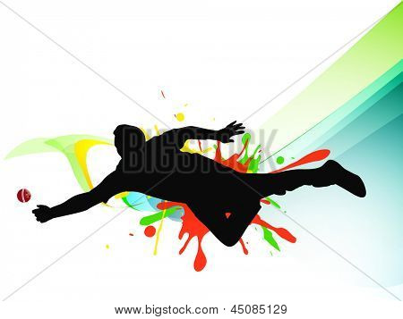 Cricket bowler in playing action on grungy abstract background.
