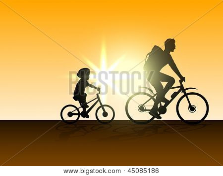 Happy Fathers Day concept with silhouette of father and son doing cycling on evening background.