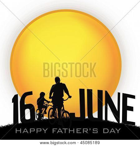 Happy Fathers Day background with silhouette of a father and son doing cycling and text 16th June.