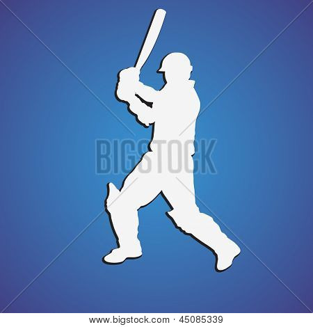 Illustration of a cricket batsman in playing action on blue background.