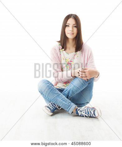 Beautiful Girl Teenager Sitting On Floor
