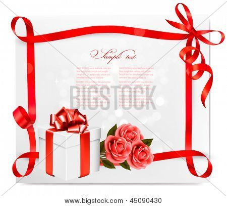 Holiday background with red roses and gift box and a ribbon. Vector.