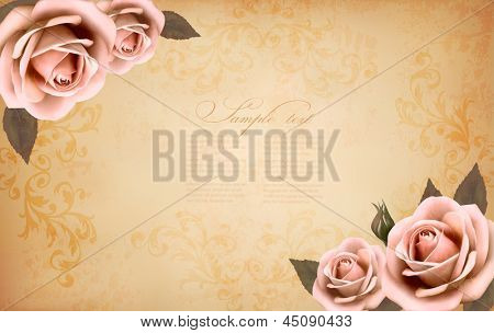Roses on a vintage old paper background. Vector.