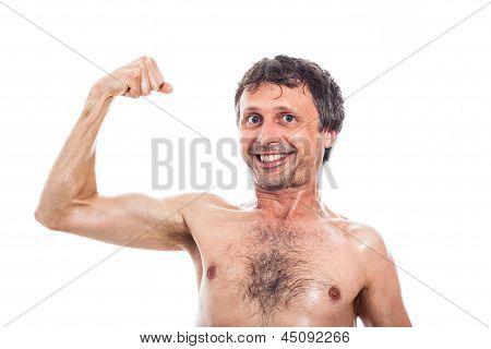 Funny Man Showing Biceps