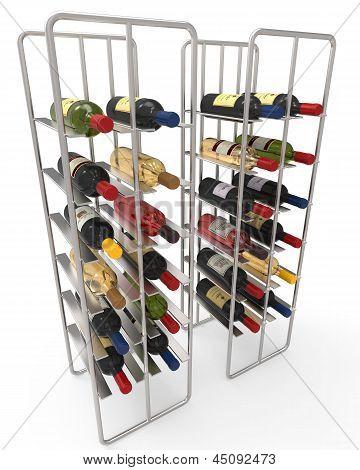 Wine Bottles in a Metal Wine Rack