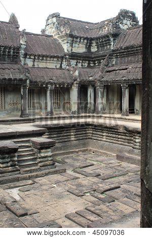 Upper Stone Courtyard At Angkor Wat, Cambodia