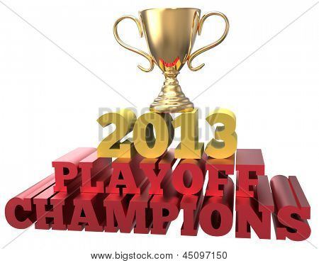 Shiny championship gold trophy for victory in 2013 playoff games