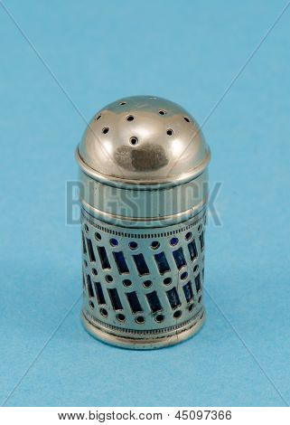 Retro Silver Grunge Salt On Blue Background