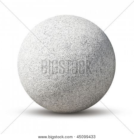 Granite ball isolated on white background.