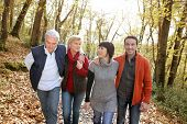 stock photo of foursome  - happy foursome gone for a walk - JPG
