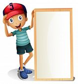 Illustration of a young boy standing beside an empty signboard on a white background