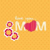 stock photo of i love you mom  - Beautiful concept for Happy Mothers Day with text love you mom and flowers on abstract yellow background - JPG