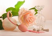 Two Small Bottles And Soft Pink Rose poster
