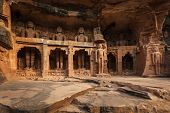 picture of jain  - Rockcut Statues of Jain thirthankaras in rock niches near Gwalior fort - JPG