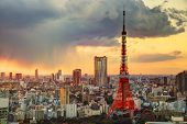stock photo of mount fuji  - Skyline of Tokyo - JPG