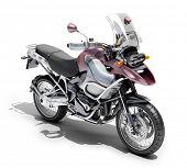 Постер, плакат: Dual Спортивный мотоцикл крупным планом на светлом фоне