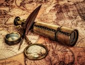 stock photo of nautical equipment  - Vintage magnifying glass - JPG
