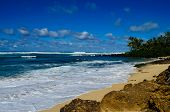 stock photo of off-shore  - View of the southside shoreline off Oahu Hawaii - JPG