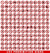 picture of bans  - 110 Prohibition signs - JPG