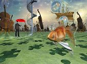 picture of hallucinations  - Surreal scene with various eelements - JPG