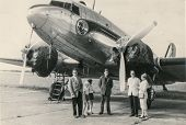 MOROCCO, CIRCA 1947 - Vintage photo of unidentified family in front of plane, Morocco, circa 1947