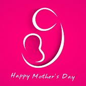 pic of i love you mom  - Beautiful Happy Mothers Day concept with line art on a mother with child on her lap on pink background - JPG