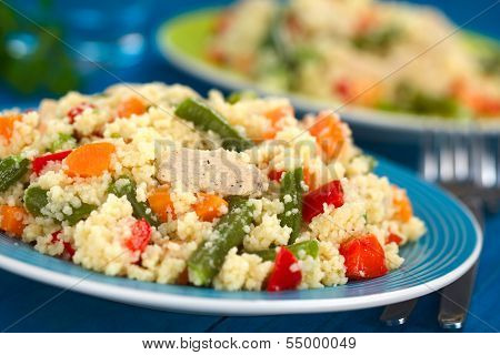 Couscous with Chicken, Beans, Carrot and Bell Pepper