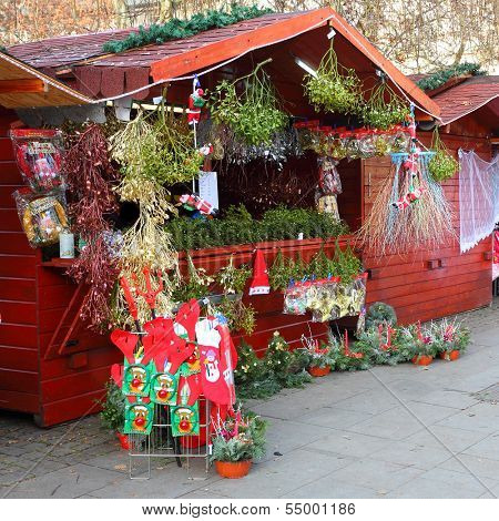 PILSEN CZECH REPUBLIC - DECEMBER 3: a market stall with mistletoe on the Christmas market in the city center on December 3 2013. It is Czech's tradition with a very long history dating back to 1296.