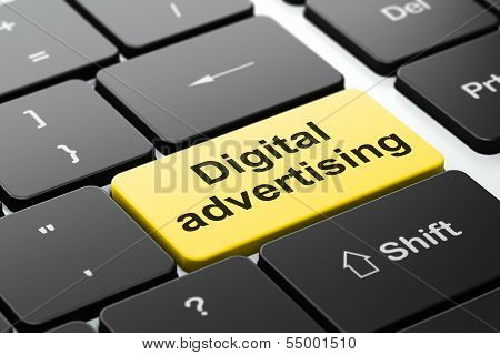 Advertising concept: Digital Advertising on keyboard background
