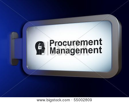 Finance concept: Procurement Management and Head Padlock