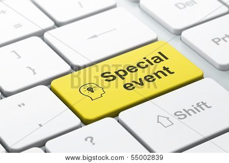 Business business concept: Head With Lightbulb and Special Event