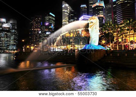 Merlion Fountain At Night