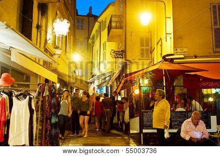 Tourists Strolling The Streets Of Cannes