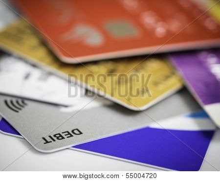 Stack of credit cards debt, loan or purchase concept