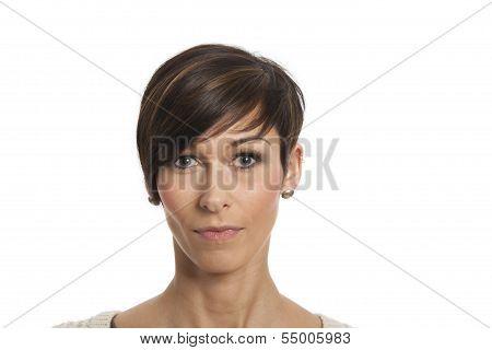 smiling woman on white