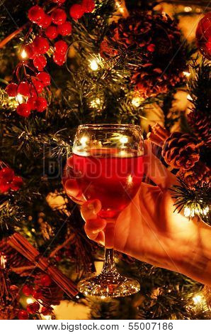 Wine Glass And Christmas Tree