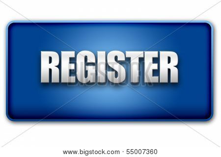 Register 3D Blue Button On White Background