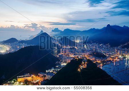 Night view of Botafogo and Copacabana beach in Rio de Janeiro