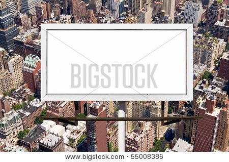 Billboard Sign Against New York City Background