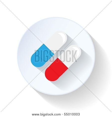 Antibiotic capsule flat icon