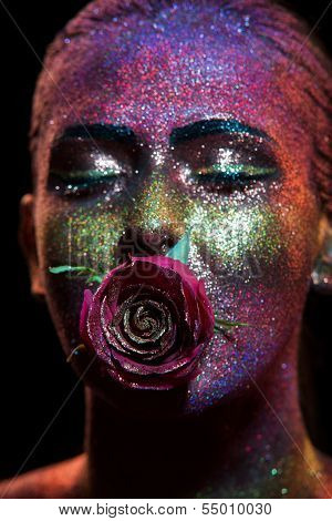 Glitter Makeup On A Beautiful Woman Face On A Black Background