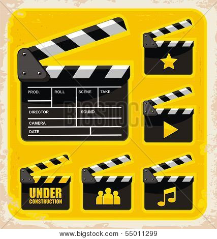 Vector set of clapboard design elements